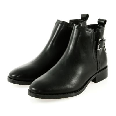 JMS-個性潮流側扣環鬆緊拼接短靴-黑色