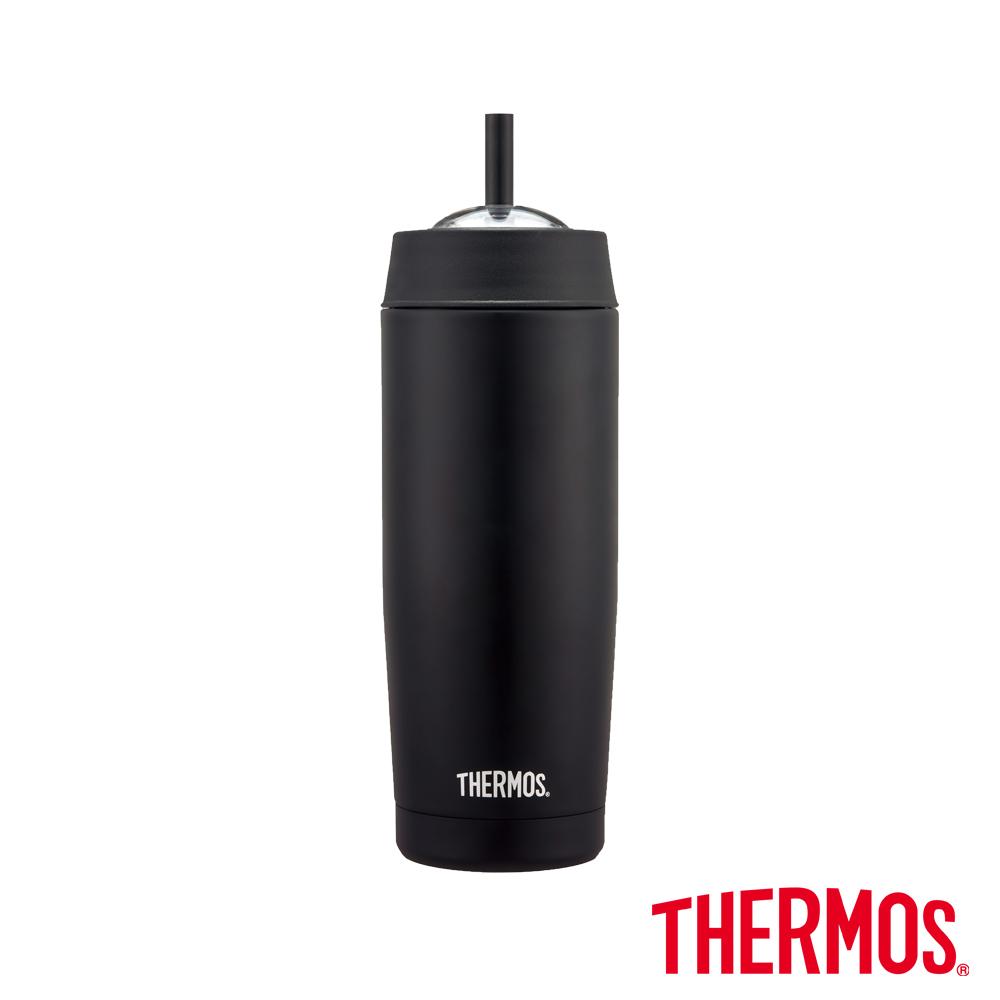 THERMOS 膳魔師不鏽鋼真空吸管隨行瓶0.47L(TS403)-BK(黑色)