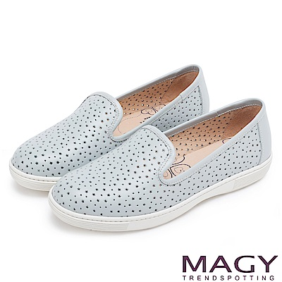 MAGY 經典甜美舒適 牛皮趣味穿孔平底休閒鞋-淺藍