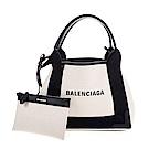 BALENCIAGA 新款NAVY Cabas xs帆布子母兩用包 (黑白)