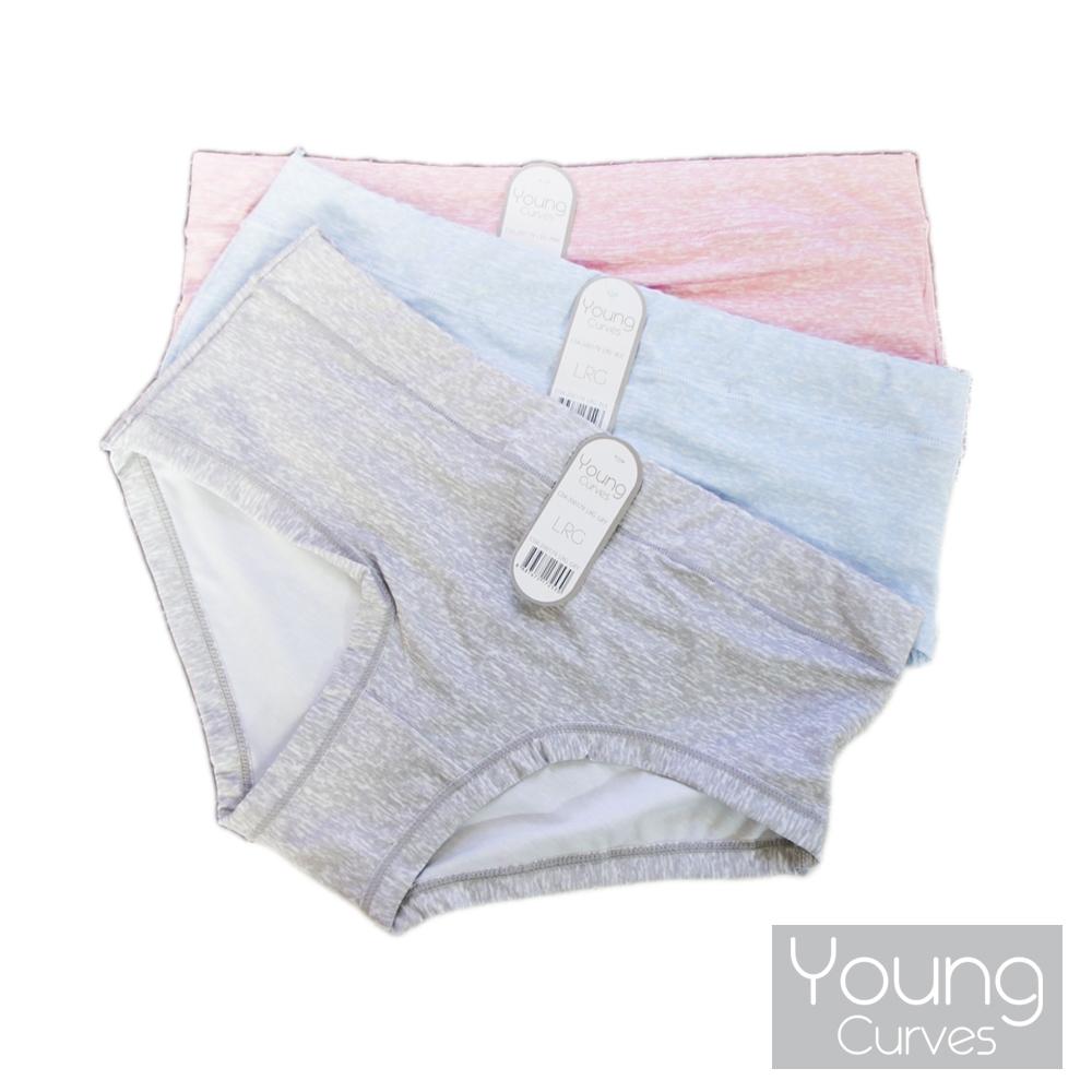 Young Curves 無痕煥彩色紗中腰三角褲(3件組)-C04-200179