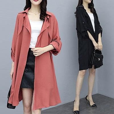 中大尺碼素色袖提釦垂墜感翻領開衫薄款風衣長外套XL~3L