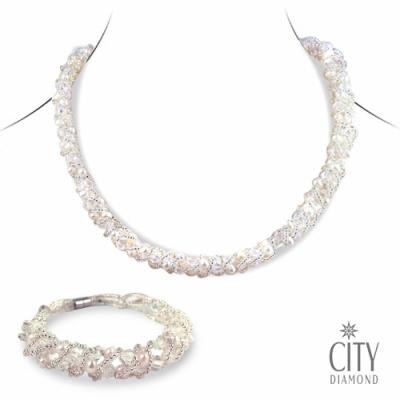 【City Diamond引雅】珍珠項鍊+珍珠手鍊套組(熱銷NO.1)