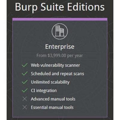 Burp Suite Enterprise (網頁弱點偵測) 企業版單機版 (5agent)(一年版) (下載)