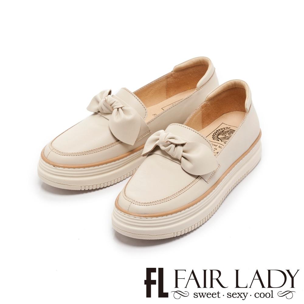 【FAIR LADY】Soft Power 軟實力 日系扭結樂福厚底休閒鞋 香草