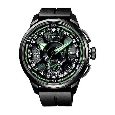 CITIZEN 星辰 衛星對時鈦金屬男錶(CC7005-16E) 黑x綠/48.5mm