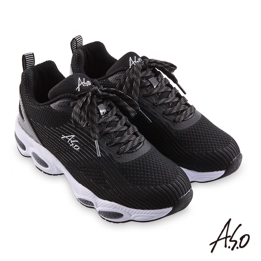 A.S.O 活力雙核心 針織鞋帶休閒鞋-黑色