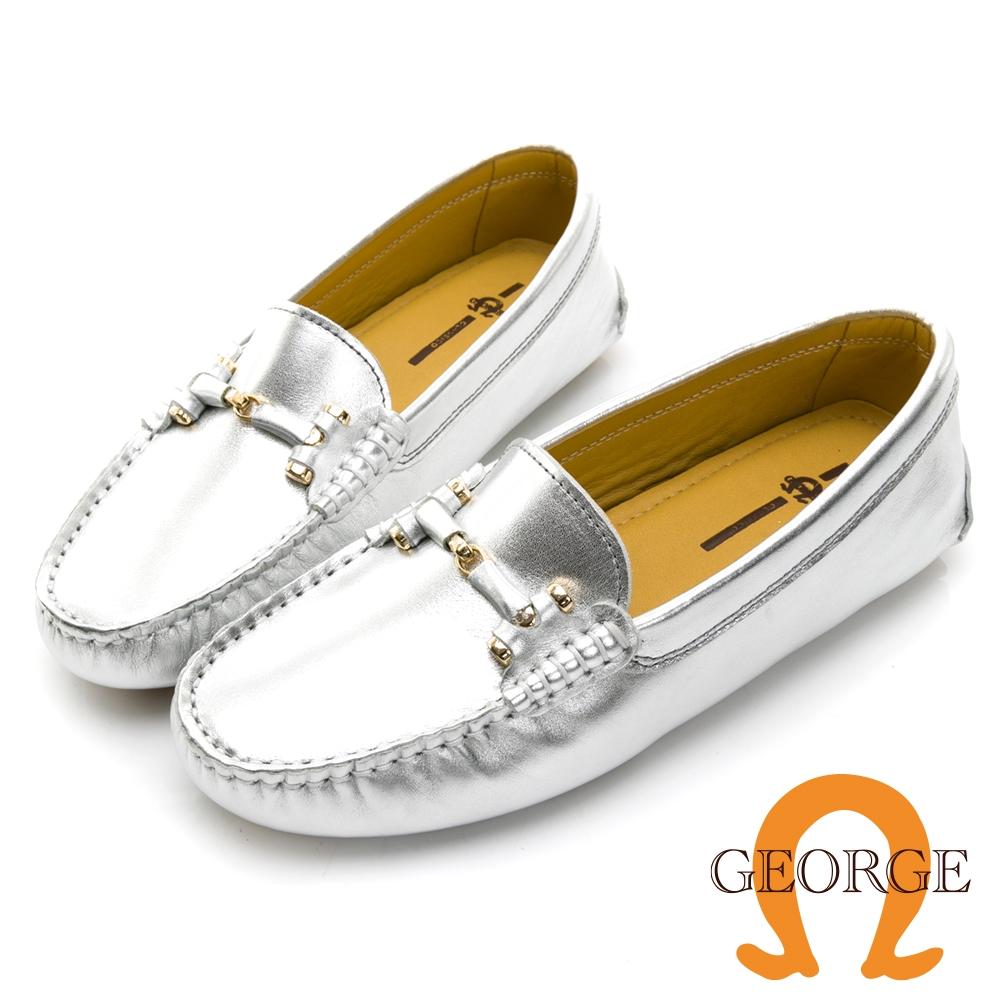 GEORGE 喬治皮鞋真皮亮面皮革條釦樂福鞋 -銀色 031007BJ
