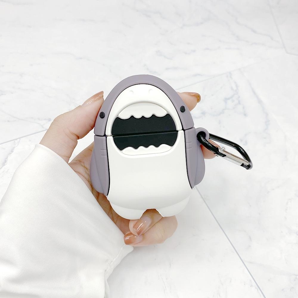 鯊魚 AirPods 專用 矽膠保護套(附掛勾)