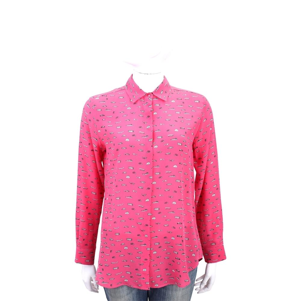 Max Mara-WEEKEND 交通工具印花粉桃色長袖絲質襯衫
