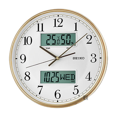 SEIKO精工 指針電子雙顯 溫濕度掛鐘(QXL014G)-33.1cm