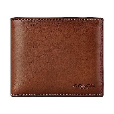 COACH專櫃款經典壓印LOGO滑面牛皮10卡對折短夾(馬鞍棕)
