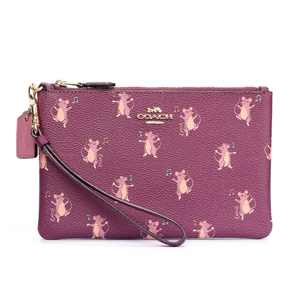 COACH 可愛滿版老鼠圖案PVC防水皮革大手拿包-莓紫色