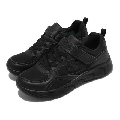 Skechers 休閒鞋 Dynamic Dash 童鞋 緩衝 緩震 舒適 魔鬼氈 皮革 中大童 黑 302615-LBBK