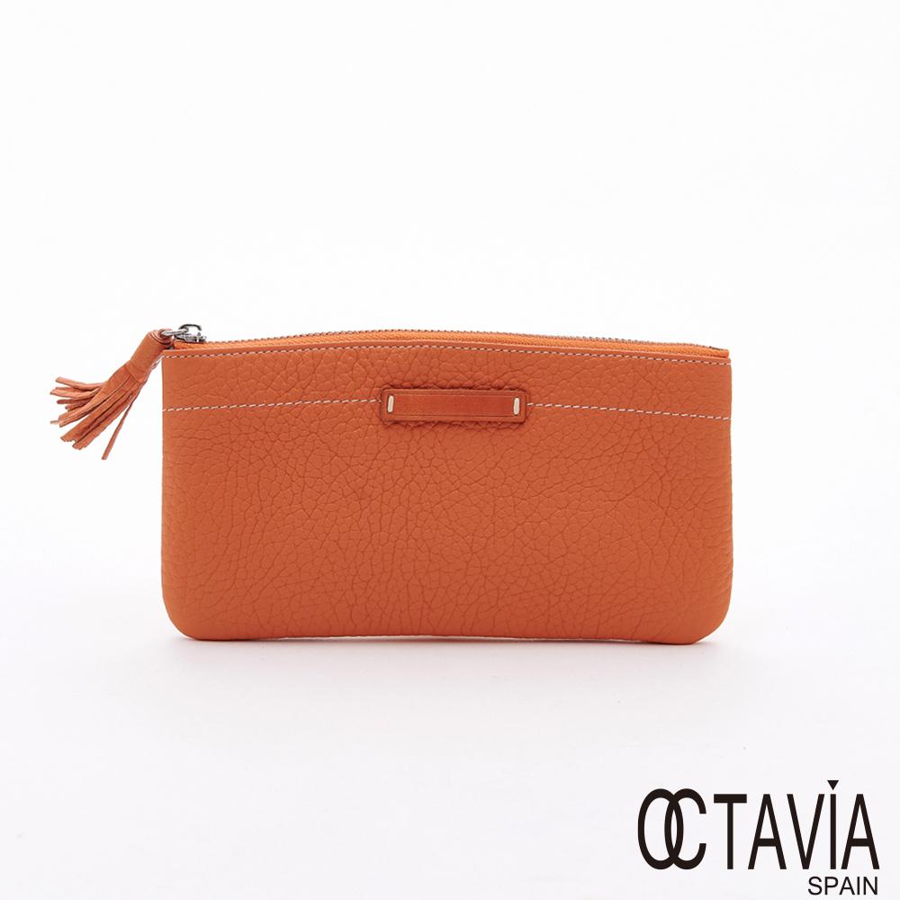 OCTAVIA8真皮  - 彎彎的  荔枝牛皮流蘇手機手拿式長夾
