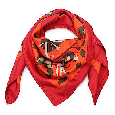 HERMES Monsieur Et Madame De男女剪影披肩方型絲巾-橘紅色