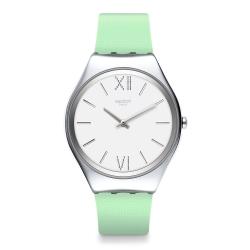 Swatch 超薄金屬系列手錶 SKIN ALOE 蘆薈綠-38mm