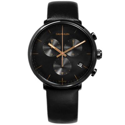 CK 礦石強化玻璃 三眼計時 日期 夜光 瑞士製造 皮革手錶-黑/43mm