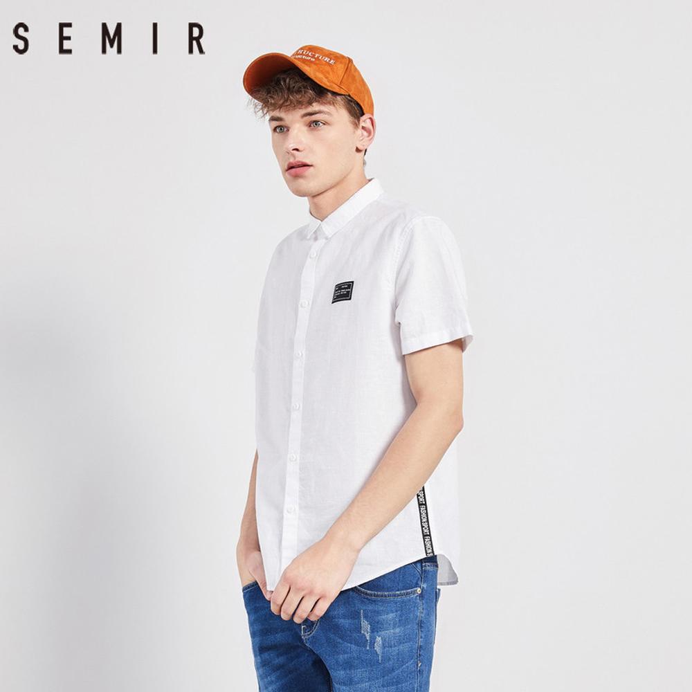 SEMIR森馬-棉麻布料貼布織帶造型短袖襯衫-男