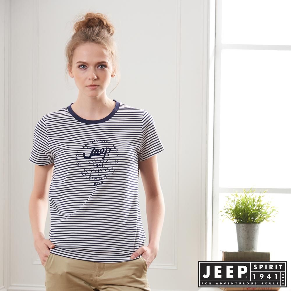JEEP 女裝 經典條紋短袖TEE-藍色