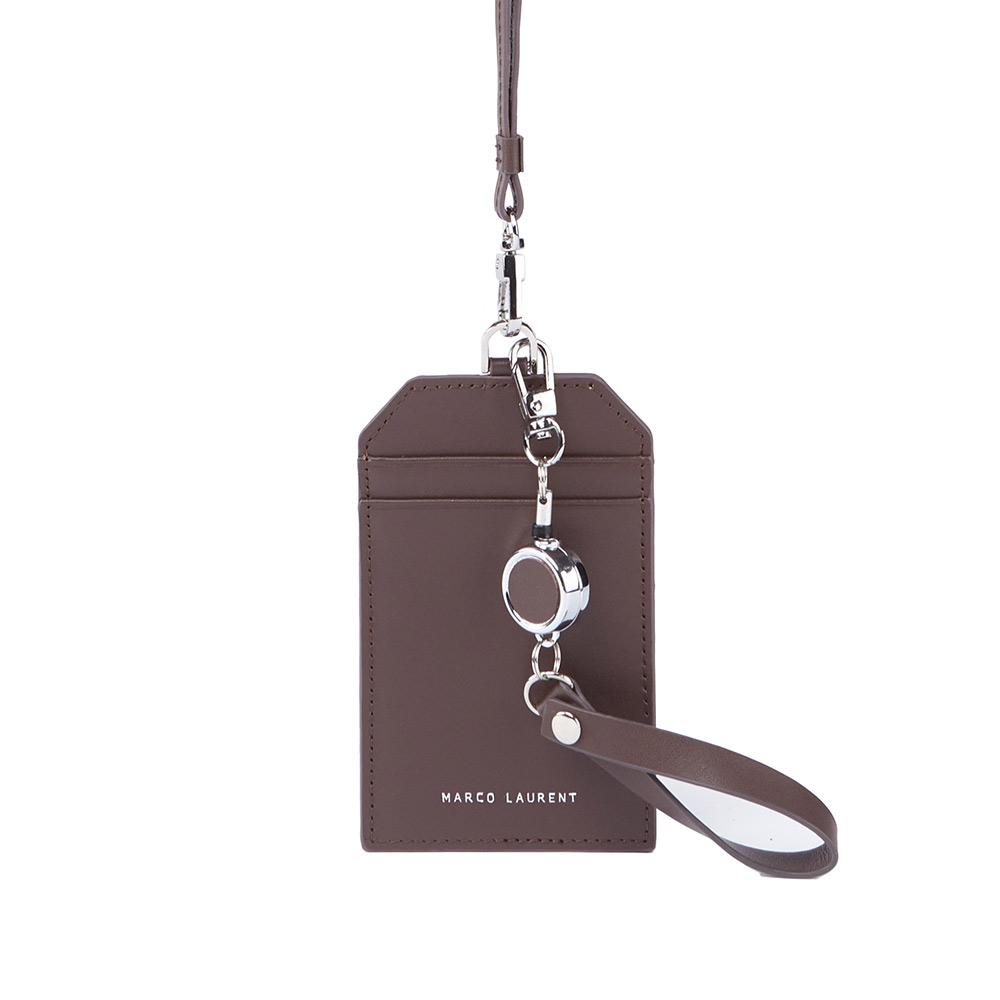 MARCO LAURENT 真皮頸掛證件套+伸縮票卡夾雙件組 - 深咖啡