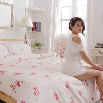BUHO 4.5x6.5尺單人精梳純棉被套(夏日玫瑰-紅)