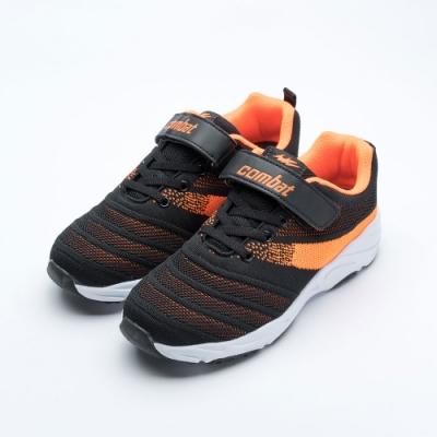 艾樂跑Combat童鞋 魔鬼氈飛織運動鞋-黑/藍 (TD-6277)