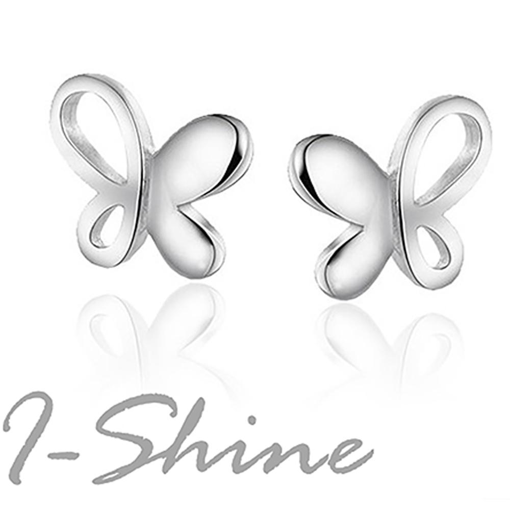 I-Shine-蝴蝶仙子-正白K蝴蝶造型耳環AH10