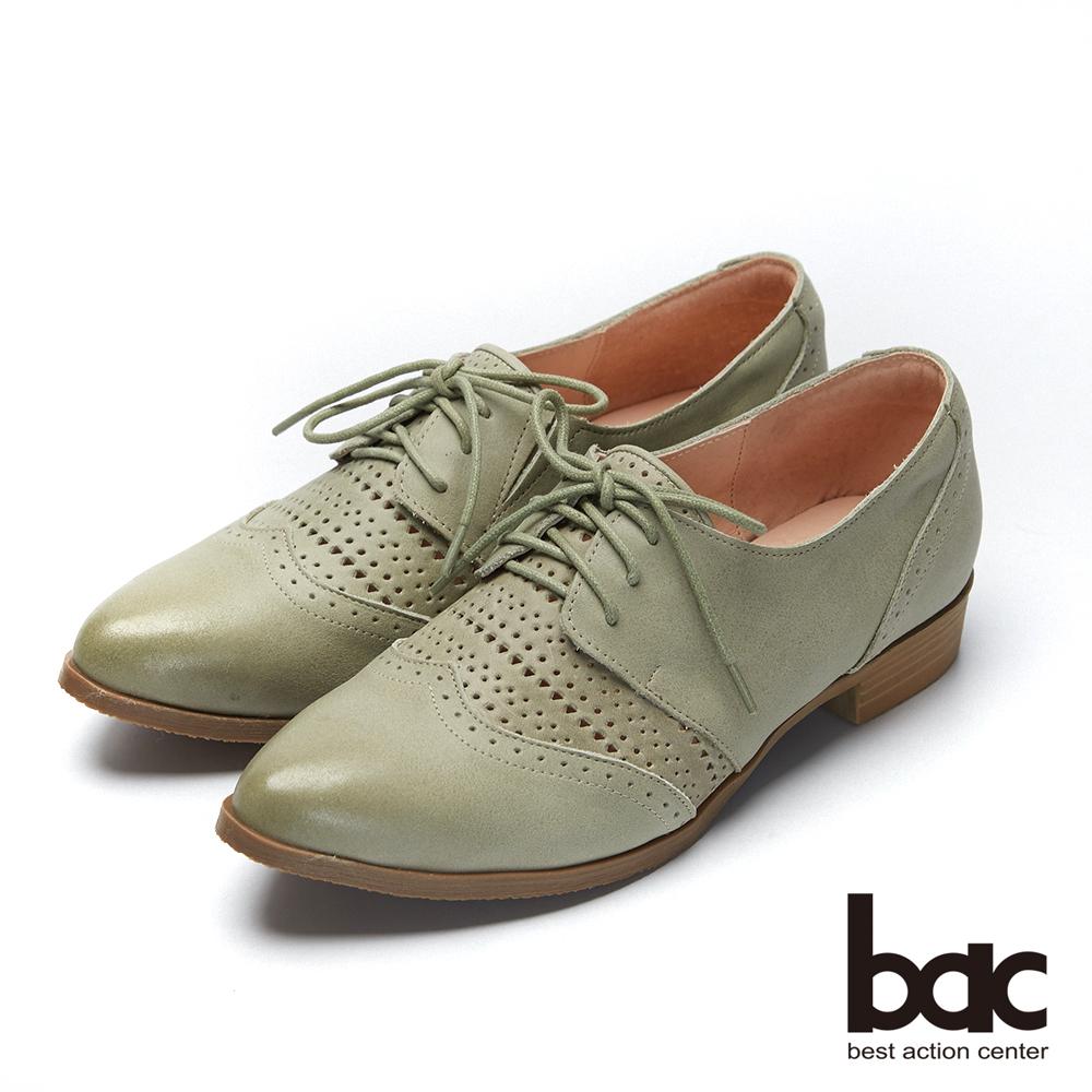 bac愛趣首爾-尖頭柔和雙色感沖孔牛津鞋-淺綠