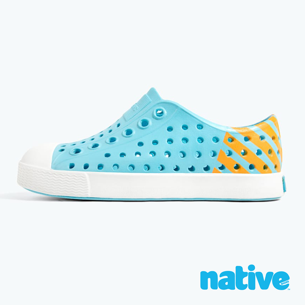 native 大童鞋 JEFFERSON 小奶油頭鞋-濕地藍x夜光橘