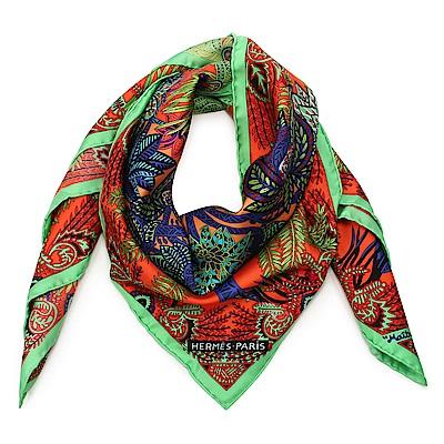 HERMES Maitre De La Foret 特色花卉圖騰絲巾(綠色x紫紅色)