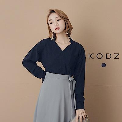 東京著衣-KODZ 小立領俐落素面口袋上衣-S.M.L(共一色)