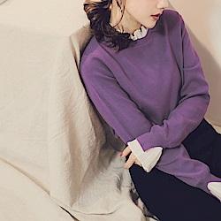 純色包芯紗拼接雪紡假兩件式針織上衣-OB嚴選
