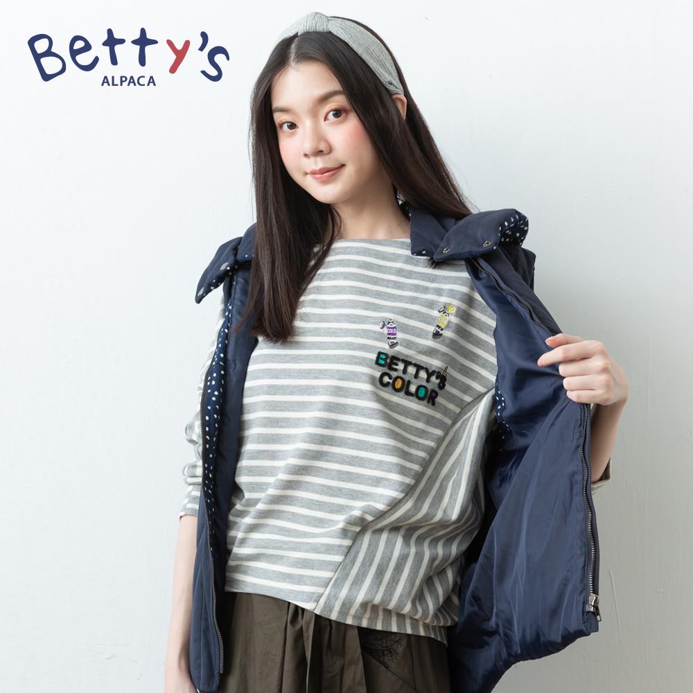 betty's貝蒂思 條紋交錯飛鼠袖T-shirt(淺灰) @ Y!購物