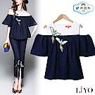 上衣小香風天堂鳥挖肩假兩件拼接寬鬆襯衫LIYO理優 O825001 S-XL