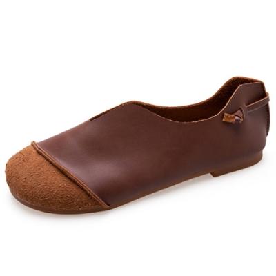 KEITH-WILL時尚鞋館 歡樂單品韓系拼接平底鞋-咖啡色