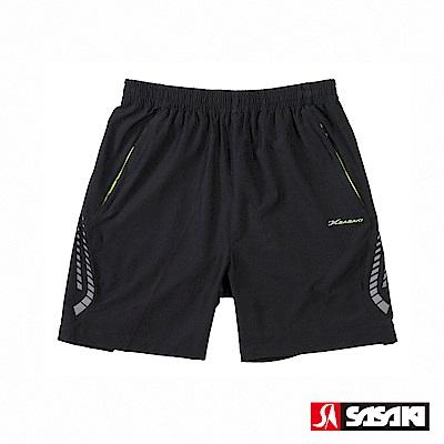 SASAKI 抗紫外線功能四面彈力網球短褲-男-黑/艷綠