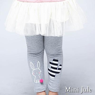 Mini Jule 內搭褲 褲腳小兔子印花與仙人掌彈性長褲(花灰)