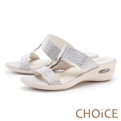 CHOiCE 真皮燙鑽金屬環氣墊 女 拖鞋 灰色