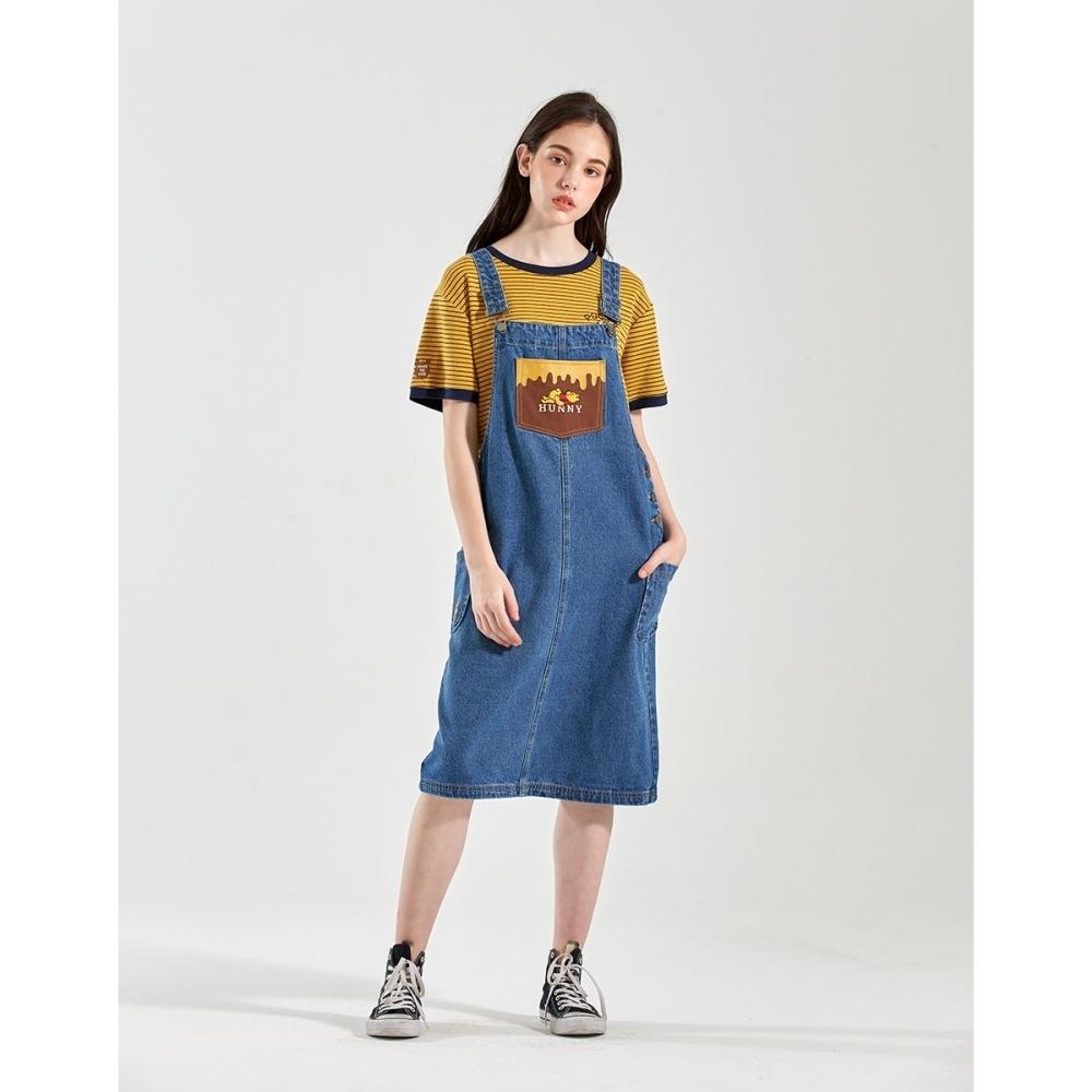 CACO-維尼牛仔吊帶裙-親子款-女【B2DI033】