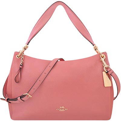 COACH 粉紅色荔枝紋皮革斜背/側肩包