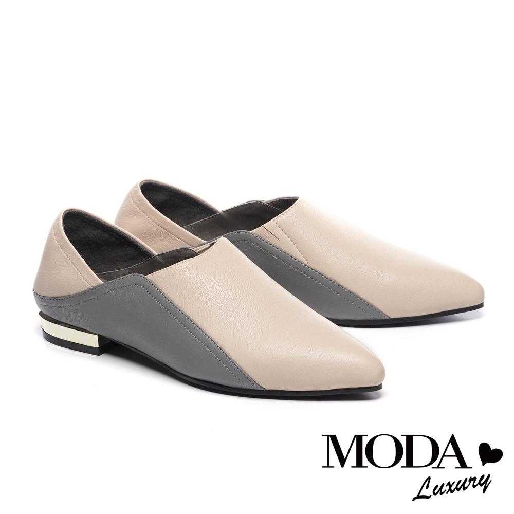 低跟鞋 MODA Luxury 簡約時尚撞色兩穿全真皮低跟鞋-白