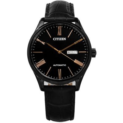 CITIZEN 羅馬時標星期日期自動上鍊機械錶壓紋牛皮手錶-黑色/41mm