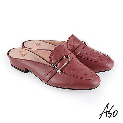 A.S.O 義式簡約 菱紋車線個性風穆勒鞋 胭脂