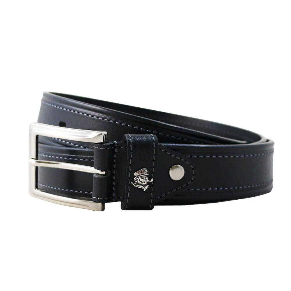 SINA COVA老船長經典雙線縫牛皮休閒皮帶 SC21801-1黑色