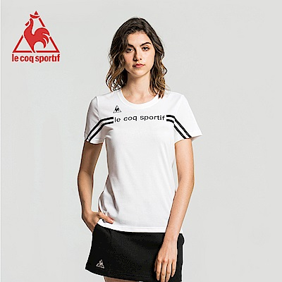 le coq sportif 法國公雞牌運動潮流圓領短袖T恤 女-白