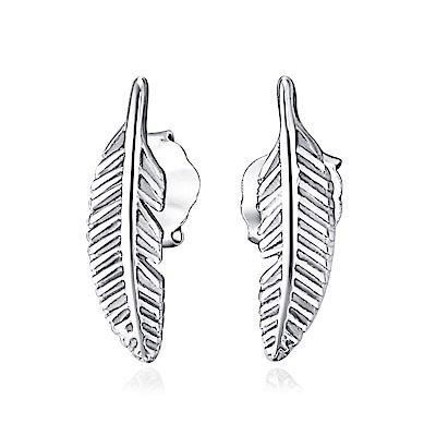 米蘭精品 925純銀耳環-精緻羽毛耳環