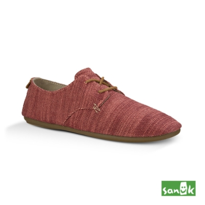 SANUK 女款 US6 竹節紡織花邊休閒鞋(紅色)