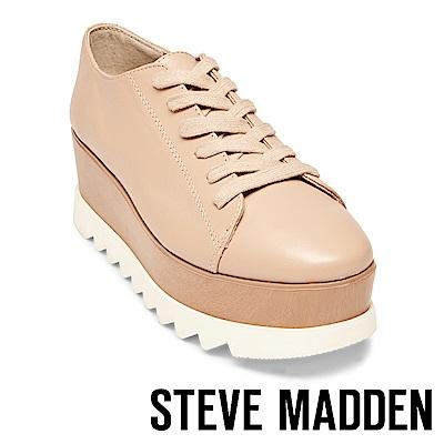 STEVE MADDEN-KINSEY 綁帶式厚底休閒鞋-粉藕