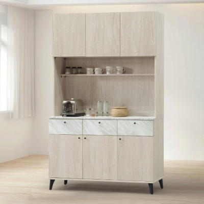 MUNA 白橡色4尺餐櫃/碗盤櫃(全組)(B302)  120X40X198cm